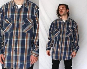 Heavy flannel shirt etsy uk for Heavy plaid flannel shirt