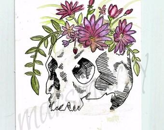 Skull Flower Pot Painting Watercolor