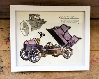 Wall Art, Home Decor. vintage car print, book plate, collectable, nursery art, original vintage illustrations, book page. illustration