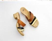 SALE Vintage Sandals // ESPRIT Clogs Slip on Platform Wood Slides