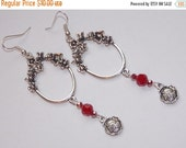 25%OFF Red Czech Floral Open Hoop Chandelier Flower Dangle Drop Earrings