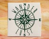 Wanderlust traveler compass map vinyl decal north east south west travel boho explore car laptop window sticker accessory