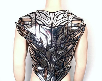 organic chrome back plate futuristic armor rear plate men