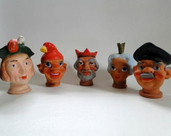 Vintage Punch and Judy Puppet Heads - Vinyl Puppet Heads - German Punch and Judy Puppets - Hand Puppets - Theater Puppets - Toy Puppets