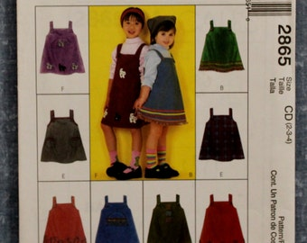 2000 Children's Jumper Size CD(2-3-4) McCall's 2865 Sewing Pattern