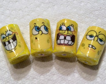 Spongebob Character Paper Focal Beads Statement Beads Colorful Whimsical Barrel OOAK Lightweight Handmade Earring Beads
