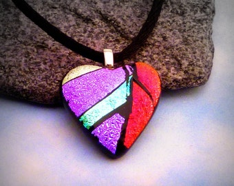 Fused Dichroic Glass Heart Pendant Petite Red Violet Teal