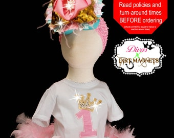 Pink, Turquoise, and Gold Crown Birthday Embroidered Shirt - Embroidered Birthday Shirt - Pink and Gold Crown Shirt