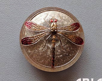 CZECH GLASS BUTTON: 41mm Handpainted Dragonfly Czech Glass Button, Pendant, Cabochon (1)
