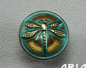 CZECH GLASS BUTTON: 18mm Handpainted Dragonfly Czech Glass Button, Pendant, Cabochon (1)