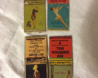 Vintage set of 4 Girlie/Girly Pin Up Matchbook Covers 1940