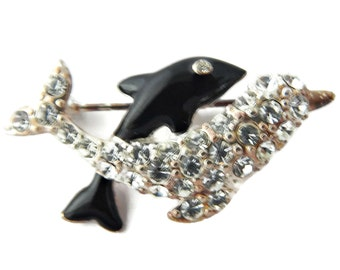 Dolphin Brooch Rhinestone and Black Enamel Double Dolphins