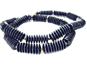 Black Disk Bead Necklace