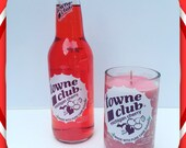 Soy candle using a recycled Towne Club Michigan Cherry pop bottle