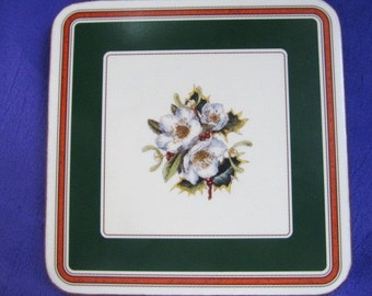 """Vintage Spode """"Christmas Rose"""" Coasters (6) Boxed"""