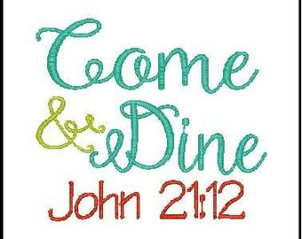 kitchen embroidery designs. bible verse embroidery phrase come and dine  design kitchen Kitchen Etsy