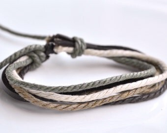 Bracelet leather & cotton cords