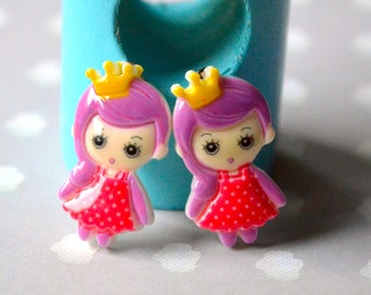 Earrings small red princess clip