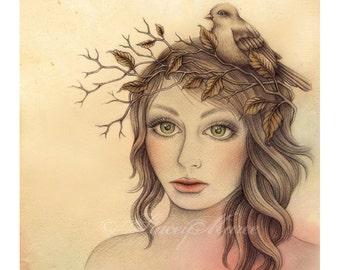 Little Sparrow - Illustration - Fine Art Print