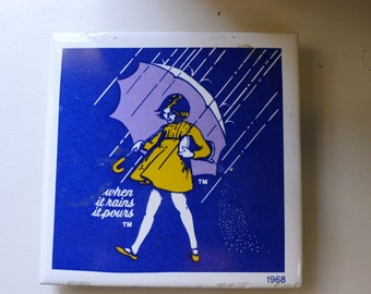 Ceramic tile trivet or coaster: Morton Salt - When it Rains it Pours