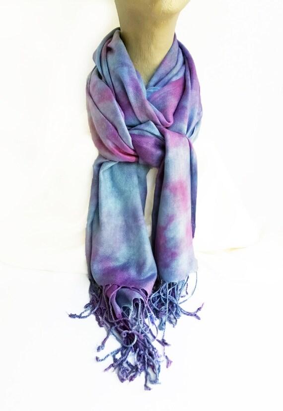 "Blue purple winter scarf - warm winter scarf - rayon challis twill - amethyst, violet, cornflower blue - jewel tones - 27"" x 64"""