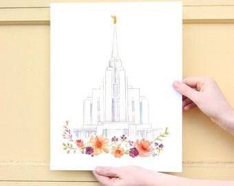 LDS temple watercolor (Rexburg, Idaho), Rexburg LDS temple
