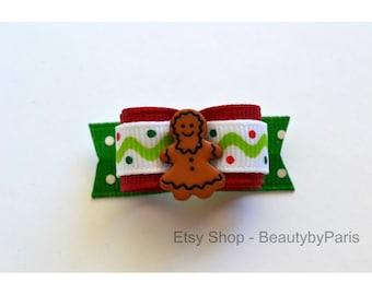 """Christmas Gingerbread Girl 5/8"""" Dog Bow"""