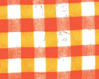 Moda Stitch in Time Clementine Poppy Red and Yellow Plaid Malka Dubrawsky Fabric BTY