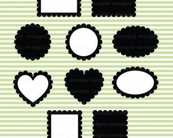 Black Digital Scalloped Frames Printable Instant Digital Download PNG