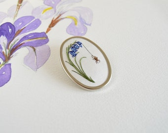 Hand Embroidered Bluebells with Spider Brooch