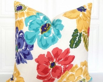 Floral Pillow Cover - Turquoise, Red, Purple, Yellow - Throw Pillow - Flowers - 18x18, 20x20, Lumbar - Decorative Pillow - Toss Pillow