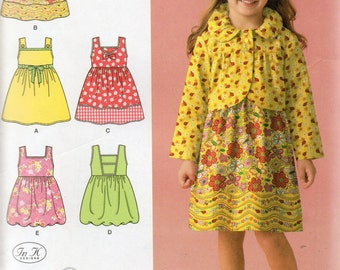 SUMMER DRESSES or Jumper & JACKET Simplicity Pattern 2680 Girls' 3 4 5 6 7 8