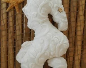 White seahorse pillow, nautical baby, nautical nursery, nautical pillows, seahorse plushie, beach decor, nautical home, minky vine embossed