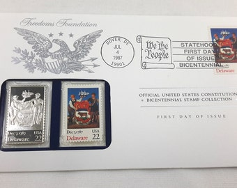 Delaware Stamp, First Day Envelope, Franklin Mint Silver Ingot Bicentennial Collectible