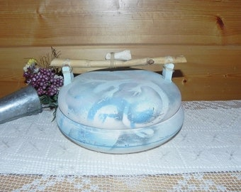 Salado Blue And White Pottery Stoneware Covered Casserole Dish With Bamboo & Bone Handle - Newt Design - Signed