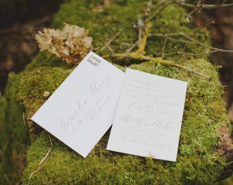 Handwritten Calligraphy Wedding Invitations in Dove Grey Ink