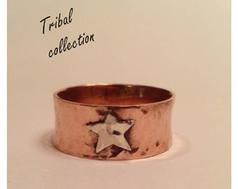 Copper and silver star ring.