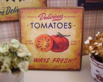 Delicious Tomatoes Miniature Wooden Plaque 1:12 scale for Dollhouses