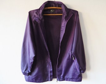 Purple Windbreaker Hipster Jacket Oversized Parka Running Jacket Purple Raincoat Long Windbreaker Lightweight Parka Medium Size Parka