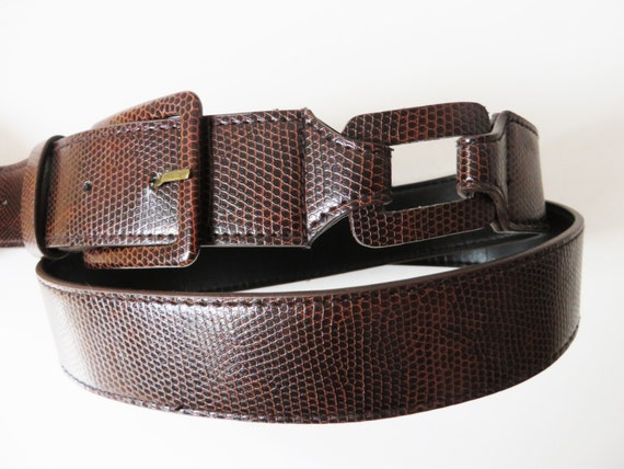 vegan leather belt snake print belt brown leather belt faux