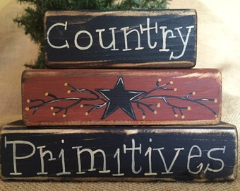 Country Primitives with Star and Berries 3 pc Shelf Sitter Wood Block Set