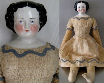 "China Head Doll c.1860 Kister 25"" Antique Dress"