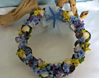 Seashell Floral wreath_beach decor wreath