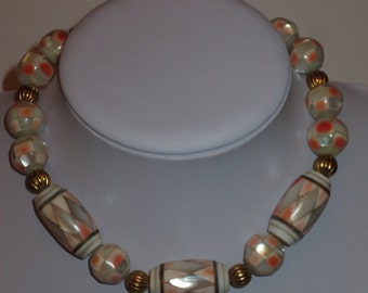 Vintage 80's Costume Jewelry Choker Necklace, Mother of Pearl inlay