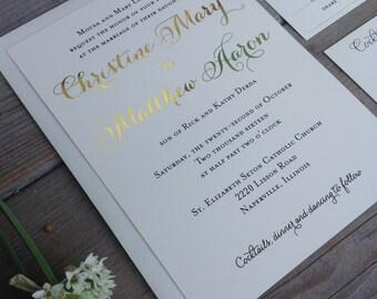 Wedding Invitation - Gold Foil Wedding Invitation Suite - Romantic Chic Calligraphy Gold Foil - SAMPLE