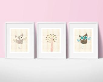 Owls printable nursery art set, instant download, owls nursery art, pink nursery decor, owls nursery decor