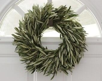 "Olive Branch Wreath- 12"" Fresh"