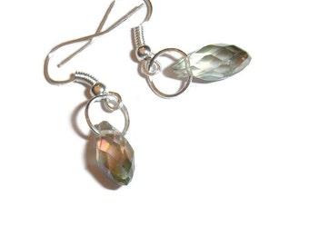 Crystal Drop Earrings Rainbow Prism Earrings Simple Crystal Drop earrings AB Crystal AB earrings Rainbow Crystal Simply Bling  Earrings