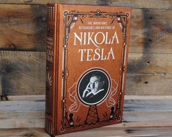 Hollow Book Safe - Nikola Tesla - Leather Bound