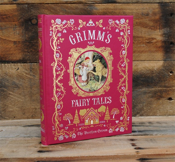 Hollow Book Safe - Grimms Fairy Tales - Red Leather Bound